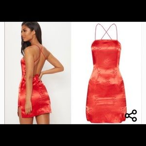 Red satin oriental lace up backless dress